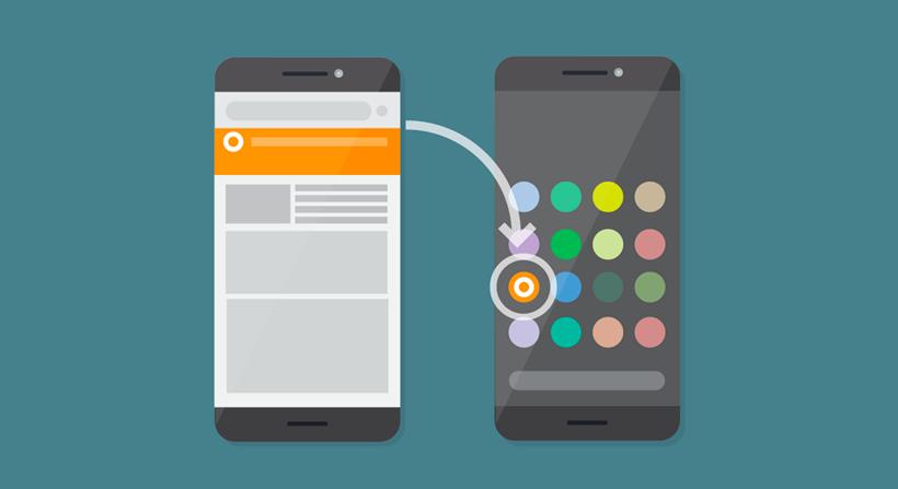 As PWAs podem ser acedidas através de um ícone no ecrã principal do dispositivo, tal como uma aplicação nativa.