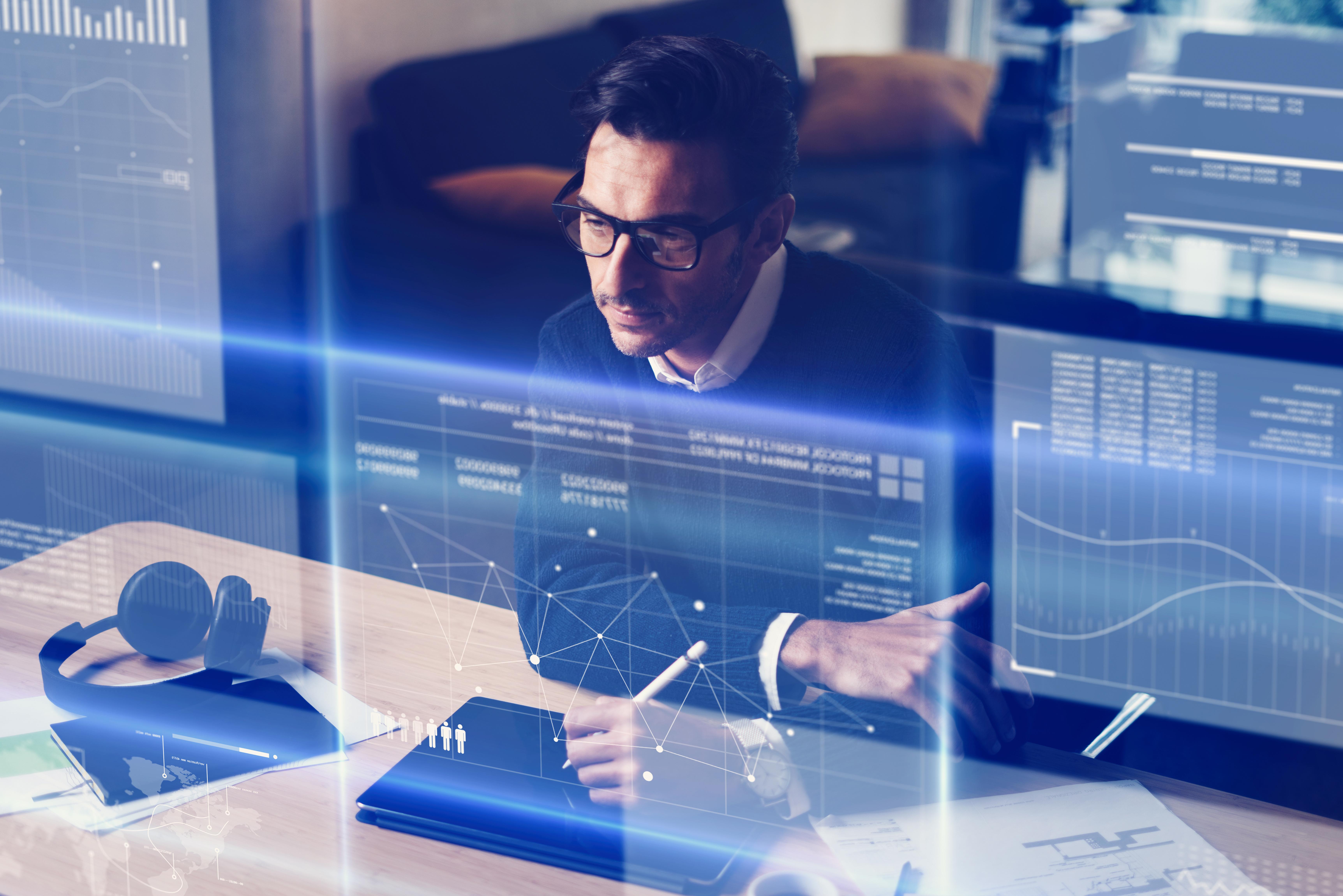 Man working with futuristic interface