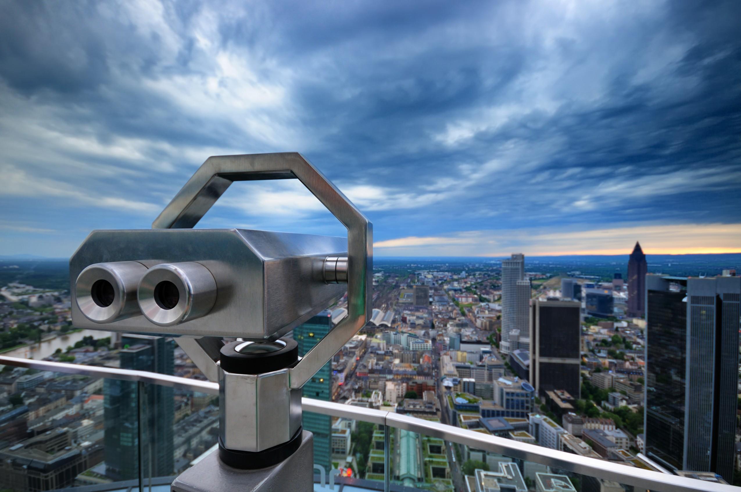 Observation Binoculars overlooking Frankfurt city