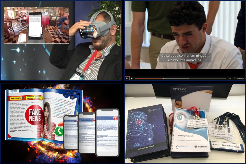 """""""Awareness"""" através de realidade Virtual (1), E-learning (2) ou Consultoria (3) e formação presencial avançada na área da cibersegurança (4)."""
