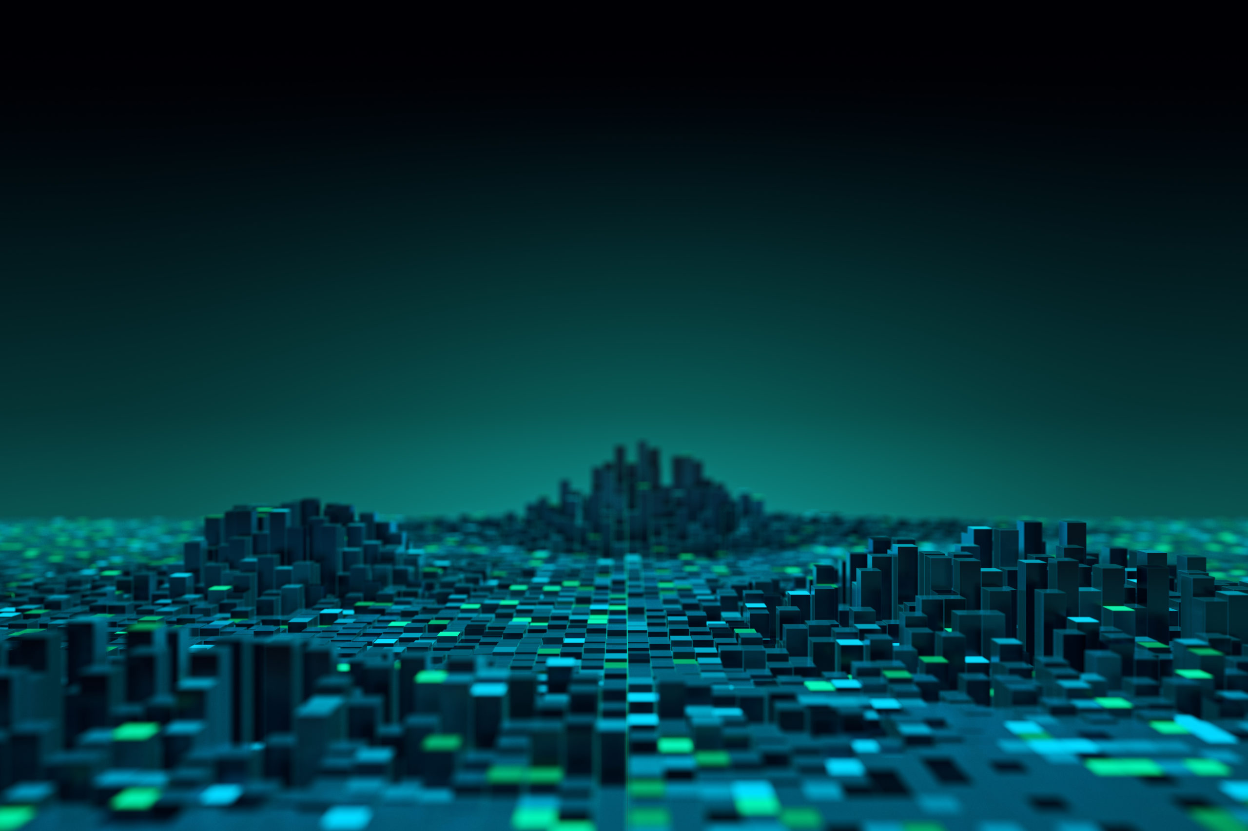 Futuristic technology data background,Cyberspace game city.3d rendering