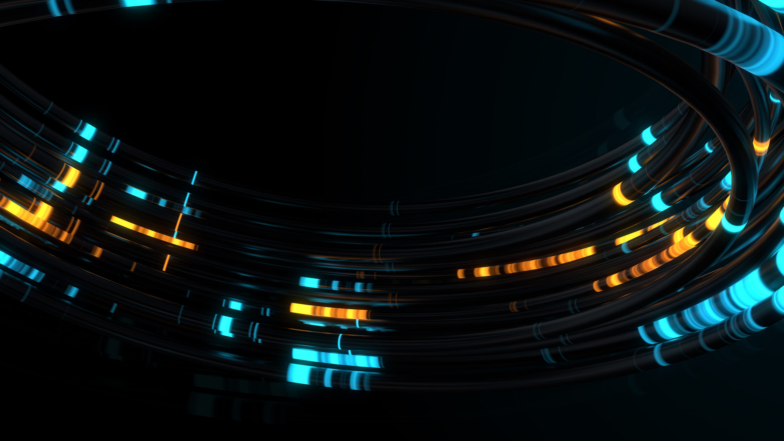 3d render of reflective cables with glow segments. Data transferring. Information concept. Technology background.