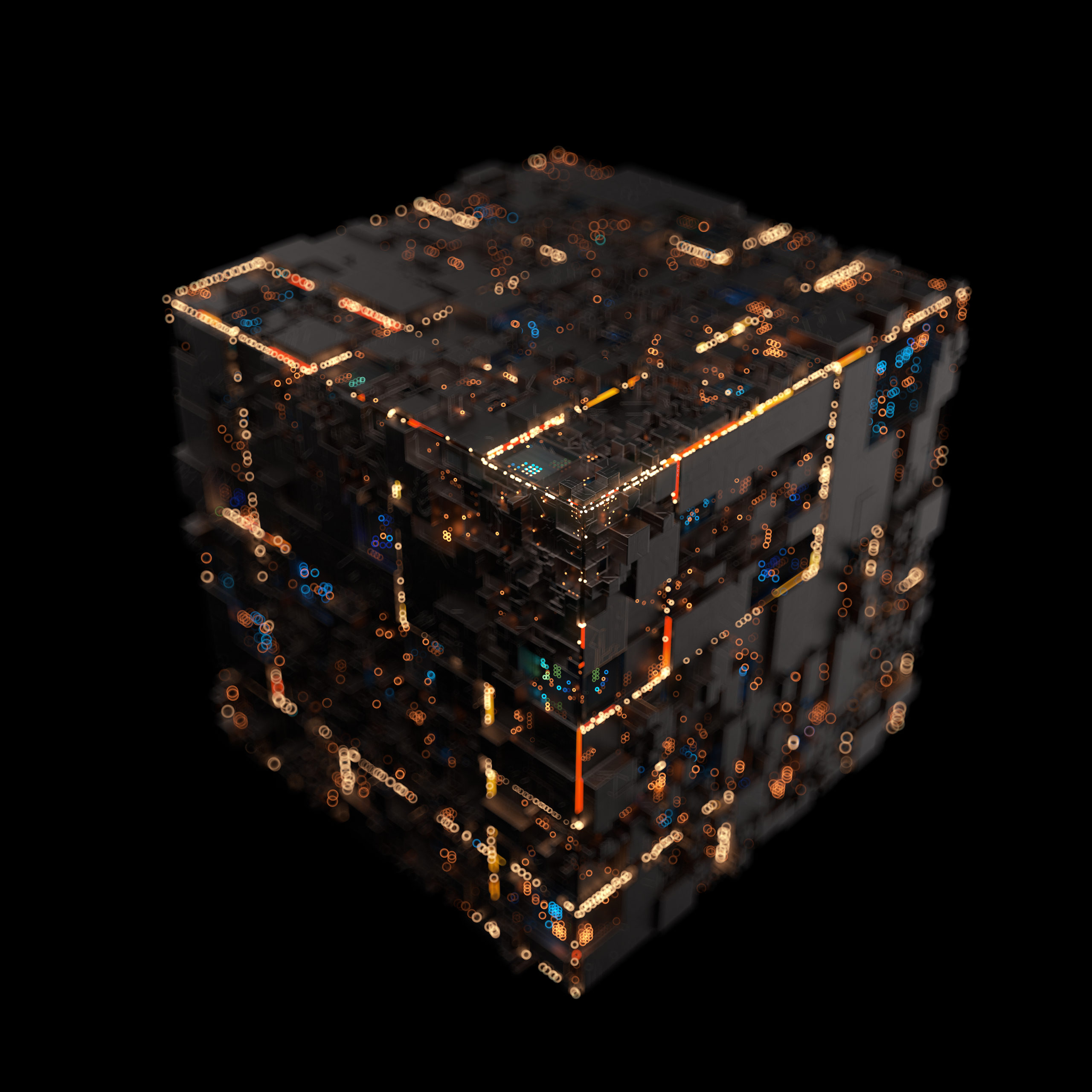 Modern machine design cube,the concept of core data blocks,3d rendering.