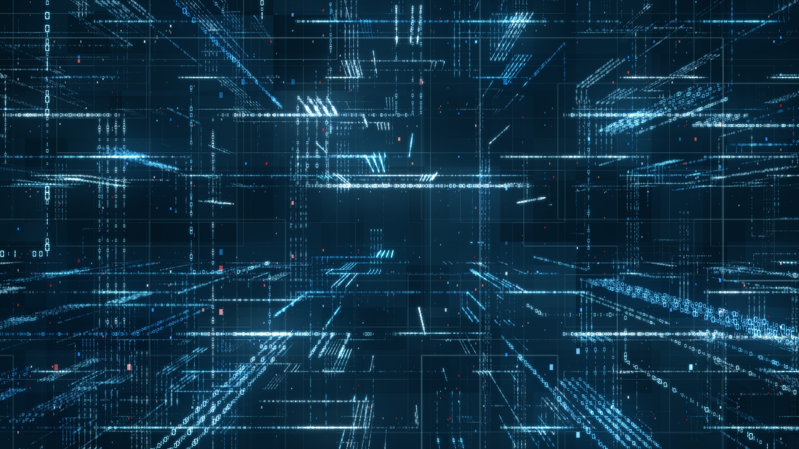 Digital binary code matrix background – 3D rendering of a scientific technology data binary code network conveying connectivity, complexity and data flood of modern digital age
