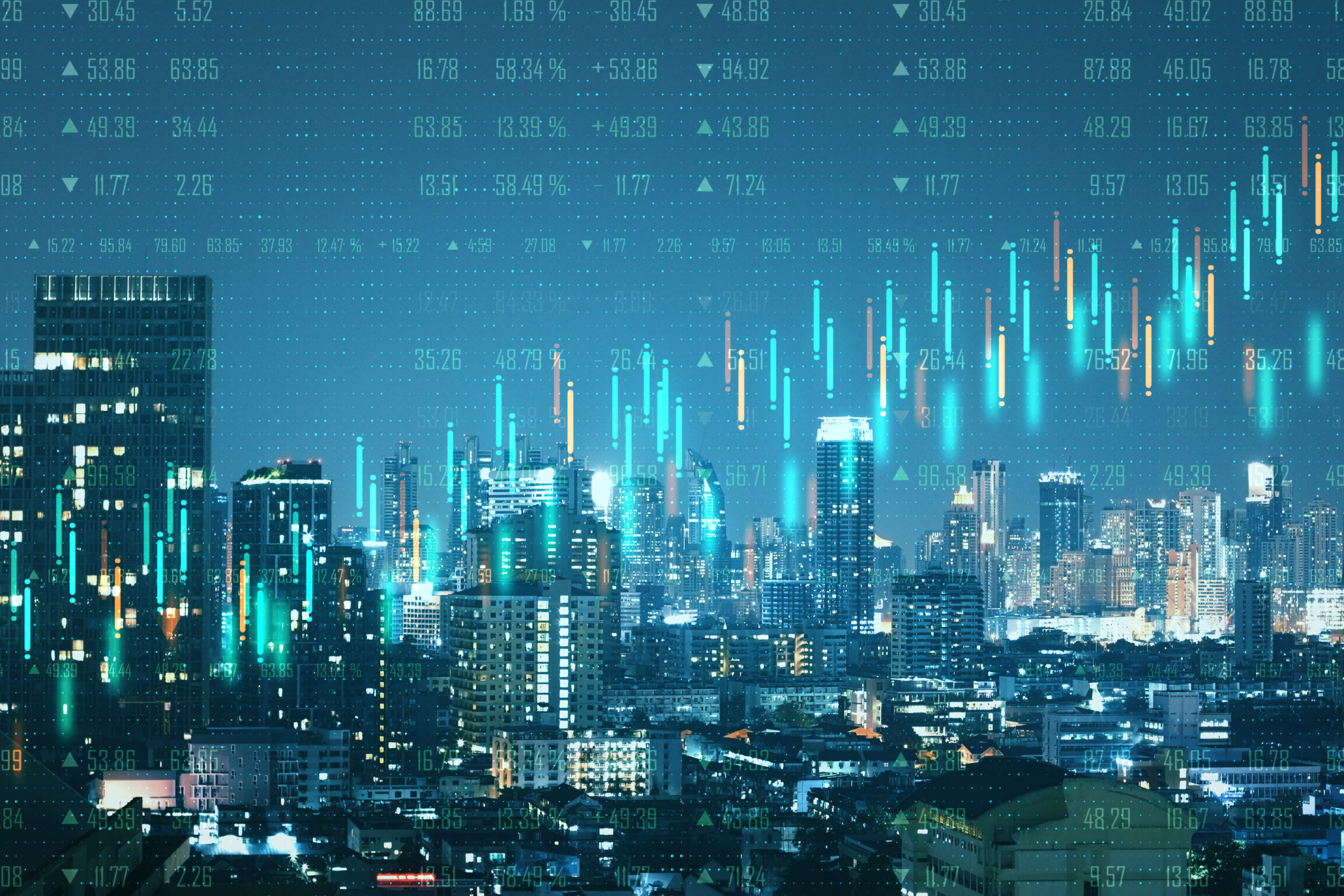 Abstract city with forex background