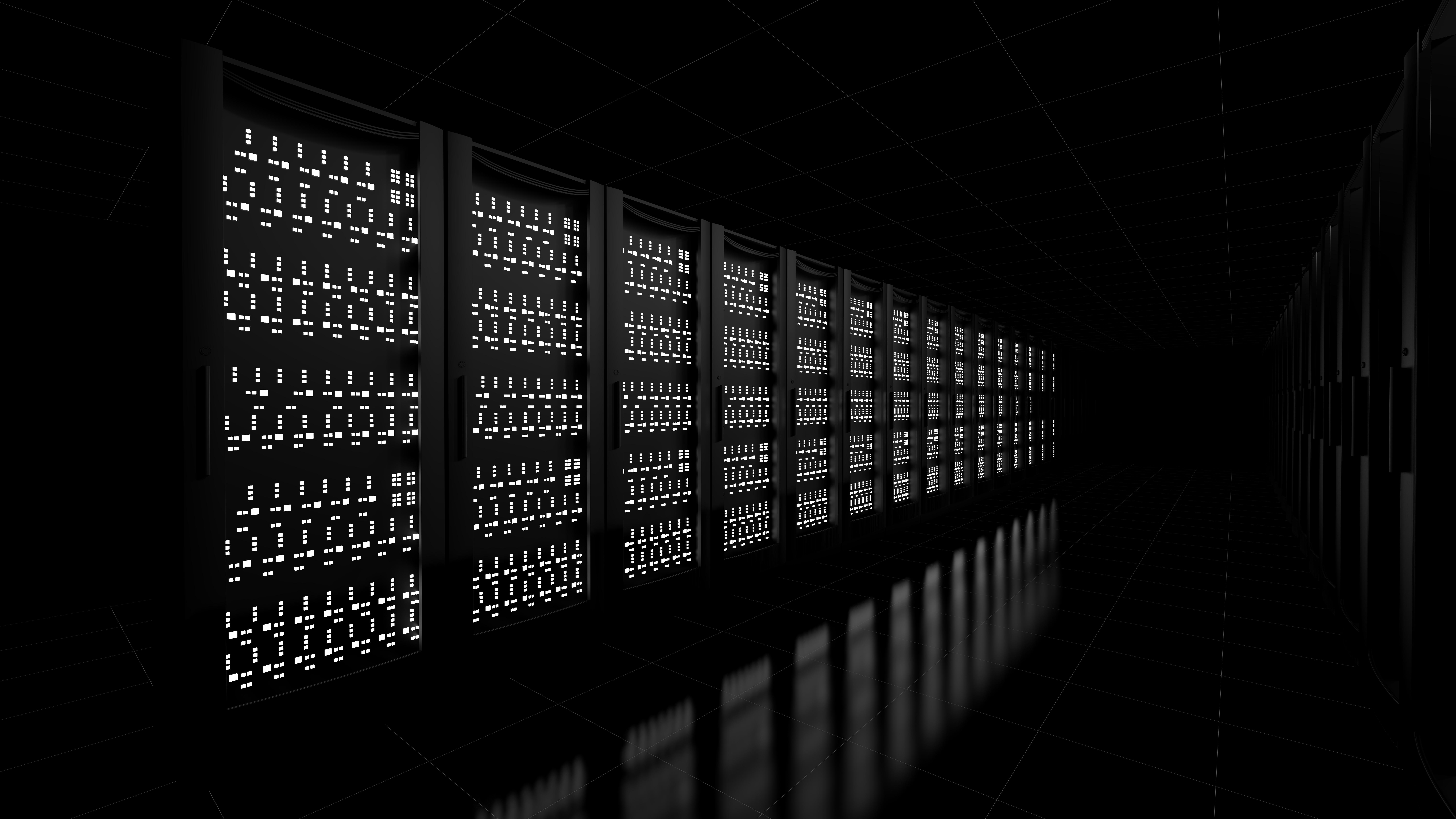 Network workstation servers on dark background