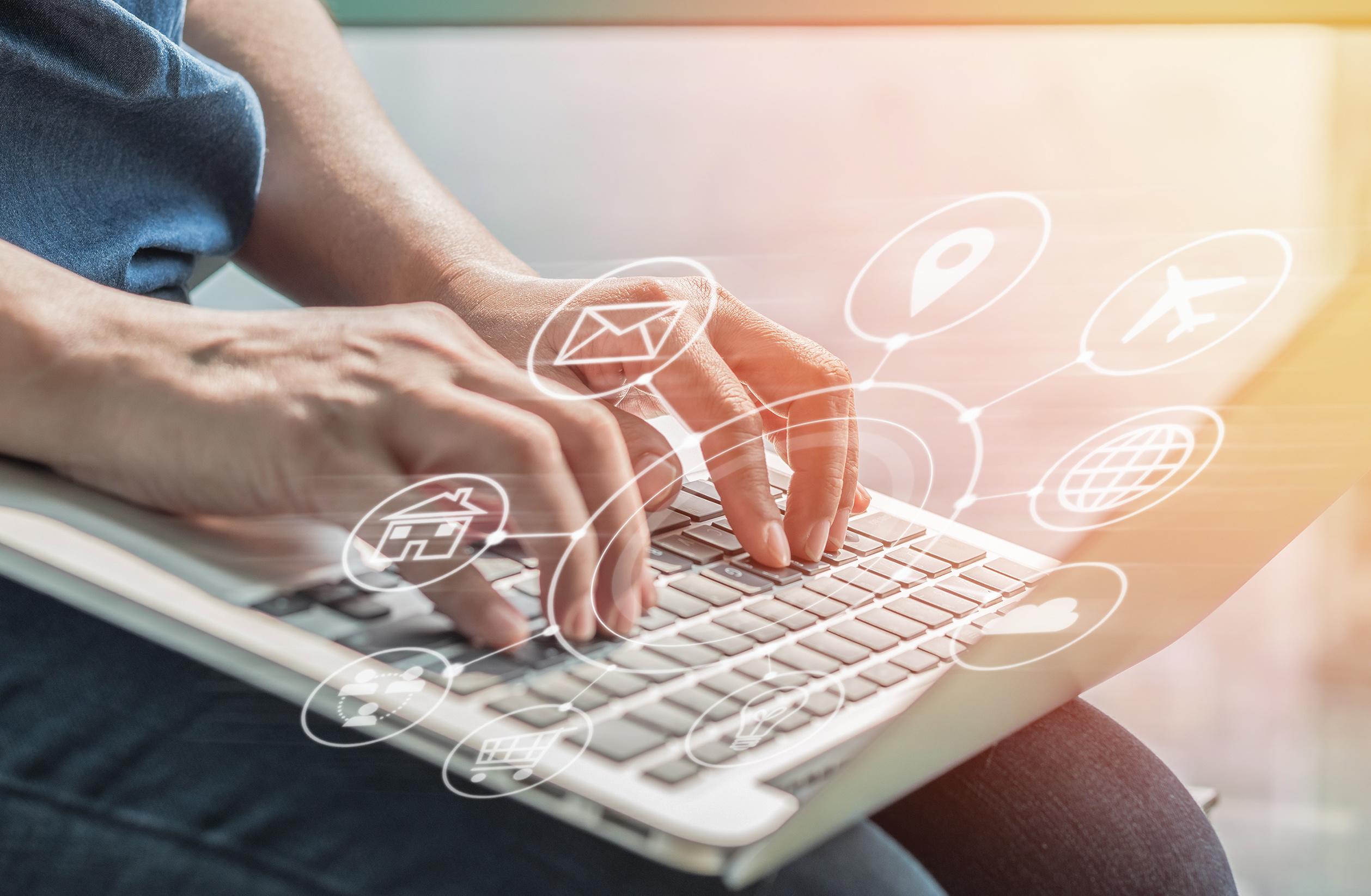Internet of things – IOT on smart device mobile app technology via digital communication technology service